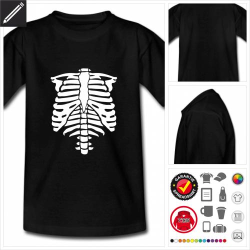 Teenager schwarzes Halloween Skelett T-Shirt gestalten, Druck ab 1 Stuck