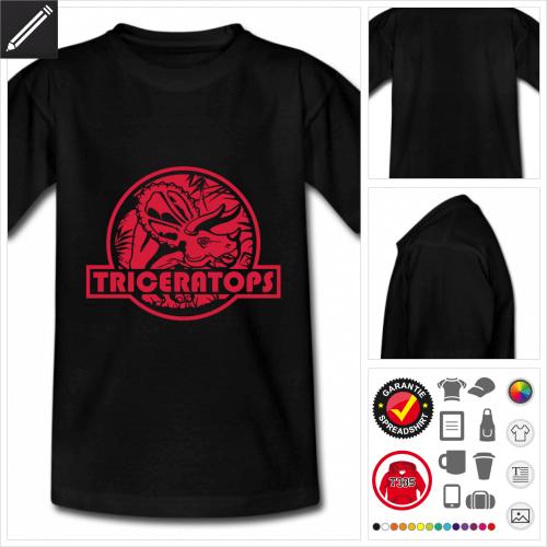 Teenager schwarzes Triceratops T-Shirt selbst gestalten. Online Druckerei