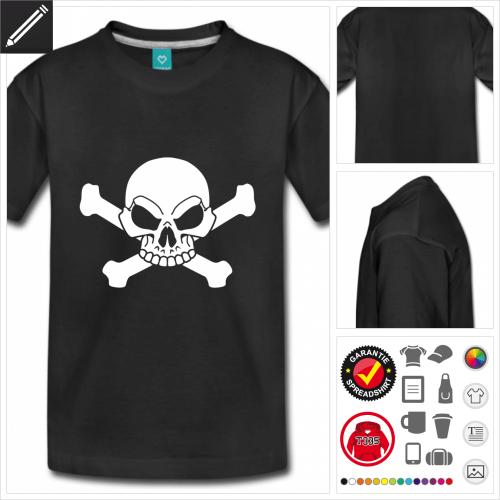Teenager Piratenflage T-Shirt online Druckerei, höhe Qualität