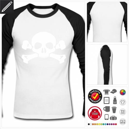 baseball Piratenflagge T-Shirt selbst gestalten. Druck ab 1 Stuck