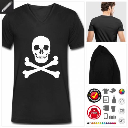 schwarzes Totenkopf T-Shirt selbst gestalten. Druck ab 1 Stuck