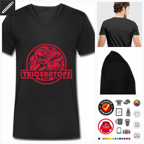 schwarzes Triceratops Logo T-Shirt selbst gestalten. Druck ab 1 Stuck