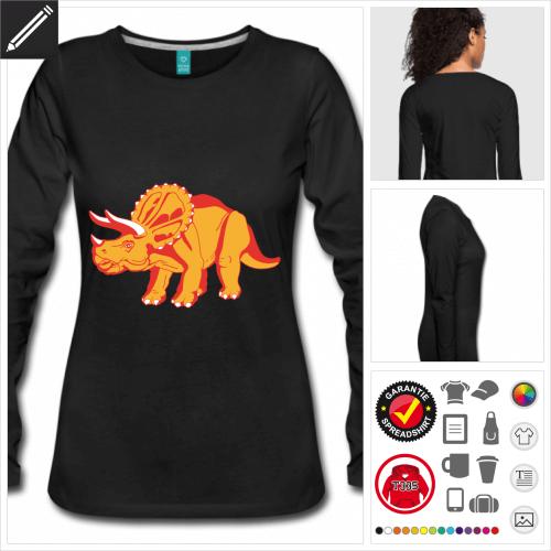 Frauen Dinosaurier T-Shirt selbst gestalten. Online Druckerei