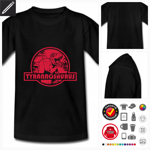 Teenager schwarzes T-Rex T-Shirt selbst gestalten. Online Druckerei