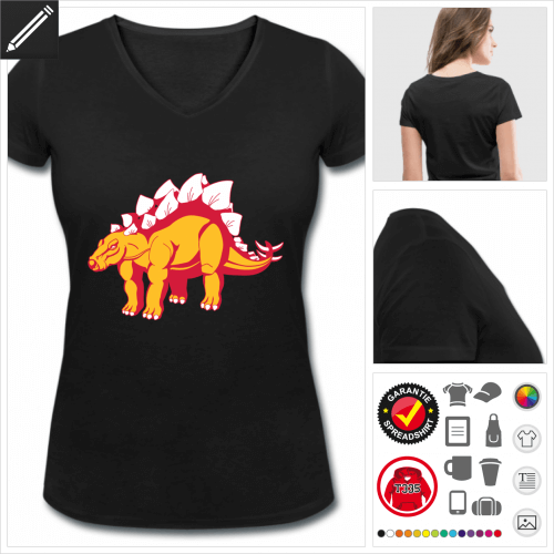 V-Ausschnitt Stegosaurus T-Shirt selbst gestalten. Online Druckerei