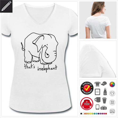 Frauen Elefant T-Shirt gestalten, Druck ab 1 Stuck