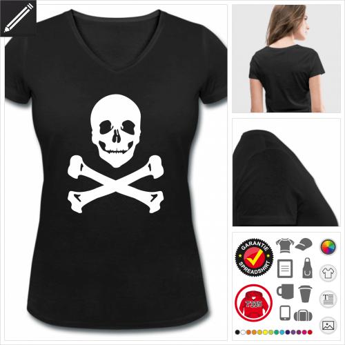 V-Ausschnitt Piratenflagge T-Shirt selbst gestalten. Online Druckerei