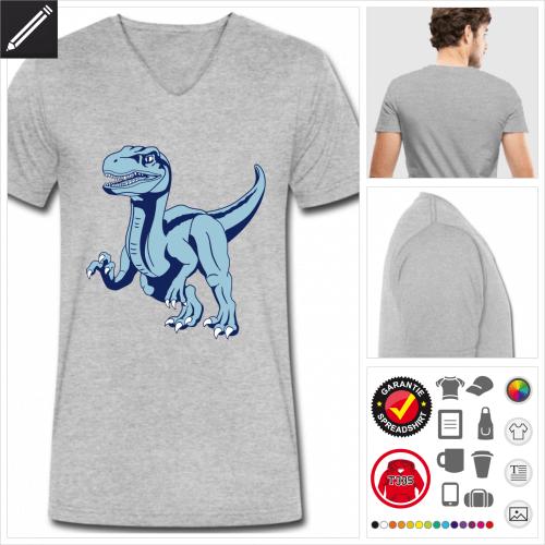 Dinosaurier Raptor T-Shirt für Männer selbst gestalten. Online Druckerei
