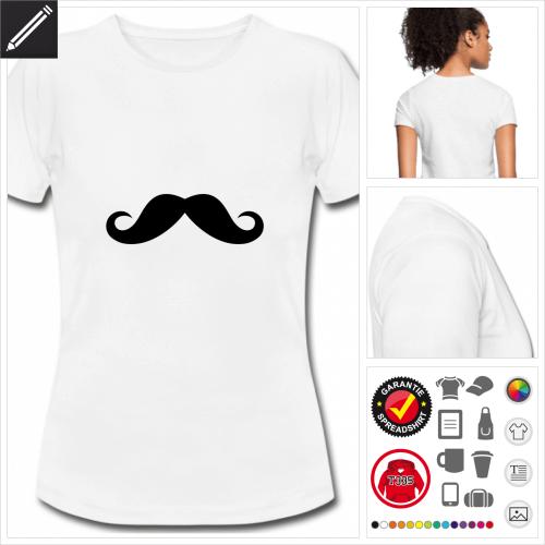 weisses Lustiger Schnurrbart T-Shirt selbst gestalten. Druck ab 1 Stuck