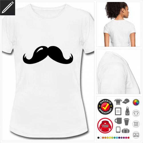 weisses Schnurrbart T-Shirt online gestalten