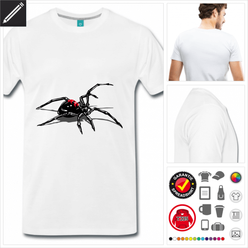 weisses Spinnen T-Shirt online Druckerei, höhe Qualität