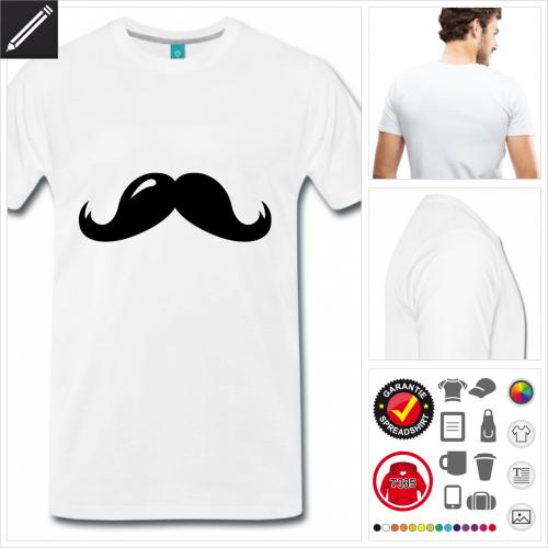 Männer Oberlippenbart T-Shirt online zu gestalten