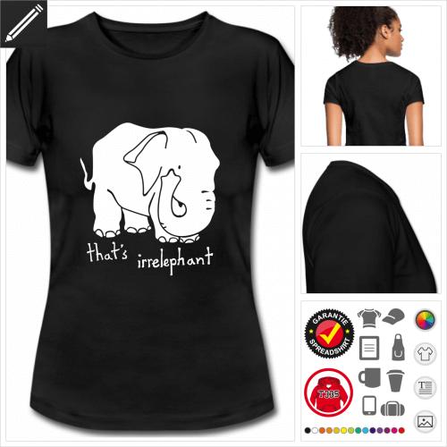 Elefant Kurzarmshirt gestalten, Druck ab 1 Stuck