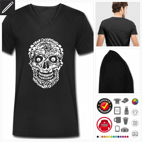schwarzes Mexikanischer Totenkopf T-Shirt selbst gestalten