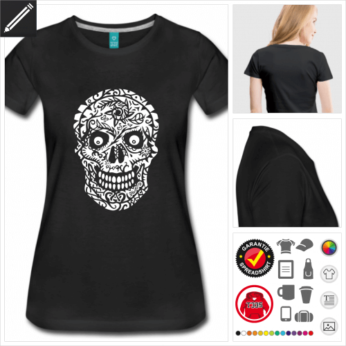 Frauen Mexikanischer Totenkopf T-Shirt selbst gestalten. Druck ab 1 Stuck