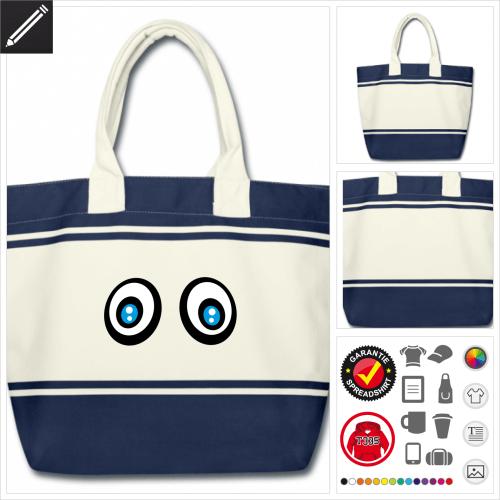 Blau Augen Tasche online Druckerei, höhe Qualität