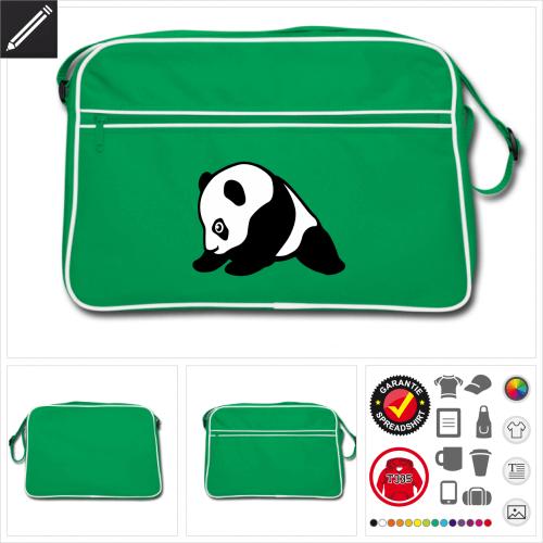 Retro Panda Tasche online zu gestalten