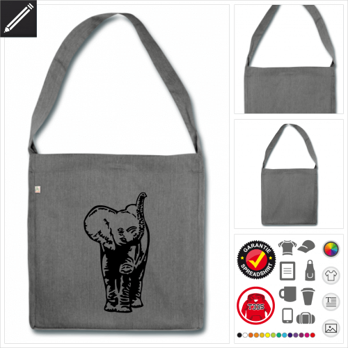 Elefantenbaby Schulltertasche online zu gestalten