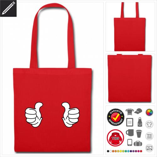 rote Daumen Stofftasche selbst gestalten. Druck ab 1 Stuck