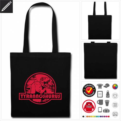 schwarze Tyrannosaurus Stofftasche online gestalten