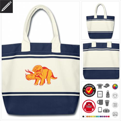Dinosaurier Schulltertasche selbst gestalten. Online Druckerei