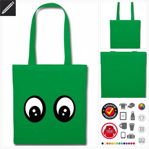 grüner Smileys Stoffbeutel online Druckerei, höhe Qualität
