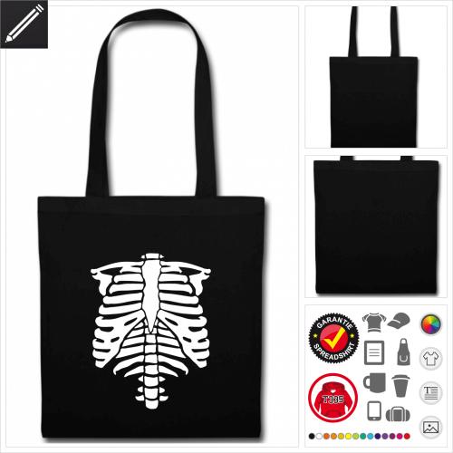 schwarze Halloween Skelett Stofftasche online zu gestalten