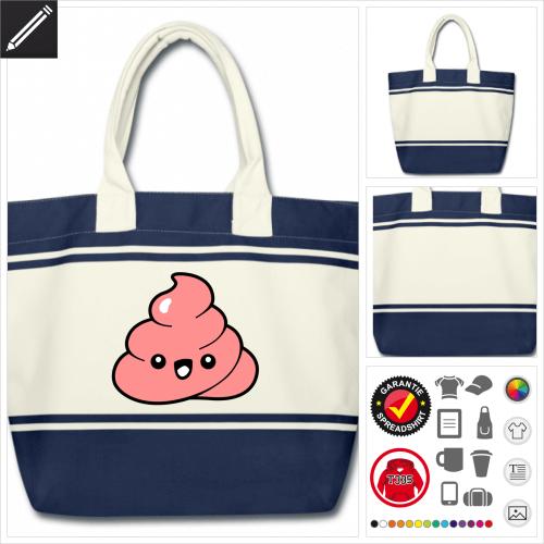 Emoji kot Tasche online Druckerei, höhe Qualität