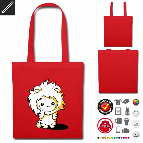 Kätzchen Löwen Kapuze Stoffbeutel personalisieren