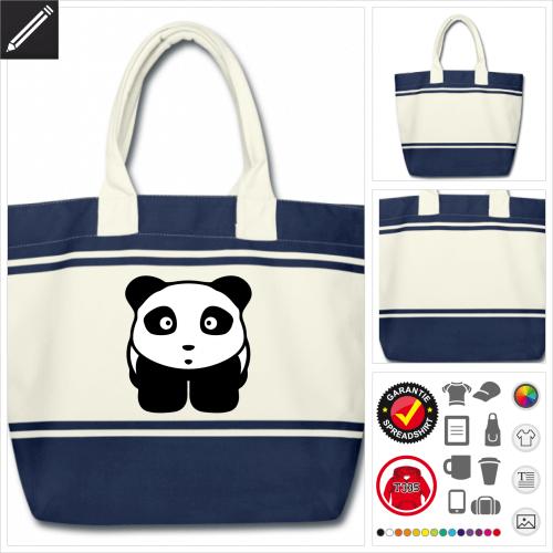 Pandabär Tasche gestalten, Druck ab 1 Stuck