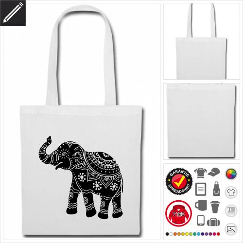 rote Elefanten Stofftasche zu gestalten