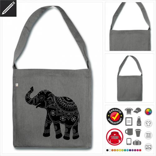 Kunstvoller Elefant Schulltertasche selbst gestalten. Druck ab 1 Stuck