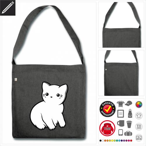 Kawaii Katze Shopper selbst gestalten. Online Druckerei