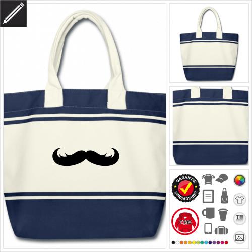 Moustache Schulltertasche online Druckerei, höhe Qualität
