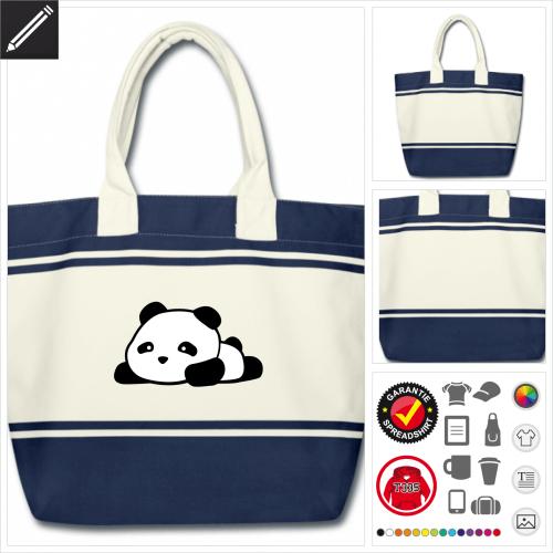 Panda Schulltertasche selbst gestalten. Online Druckerei