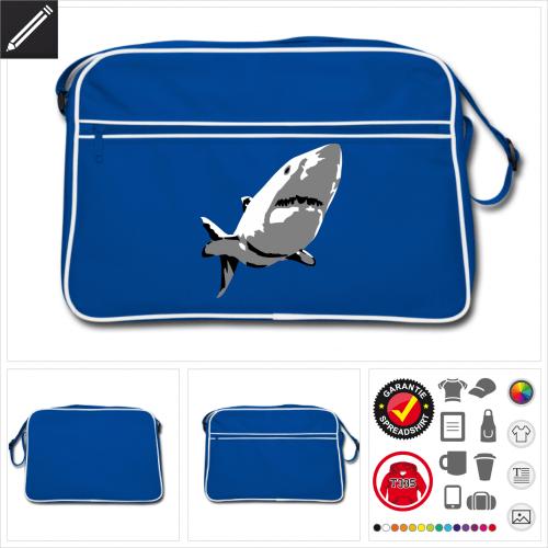 Retro Menschenhai Tasche online Druckerei, höhe Qualität