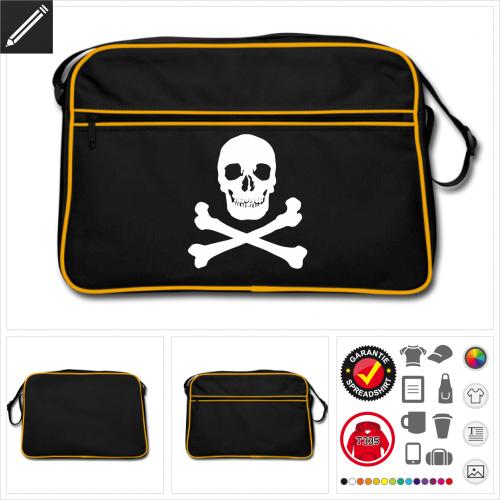 schwarze Piratenflagge Umhängetasche selbst gestalten. Online Druckerei