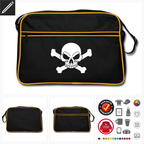 Retro Piraten Schädel Tasche selbst gestalten. Online Druckerei
