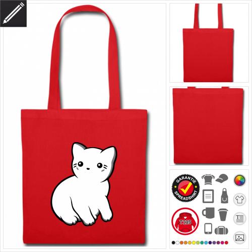 Kawaii Katze Stofftasche mit Griffen online zu gestalten