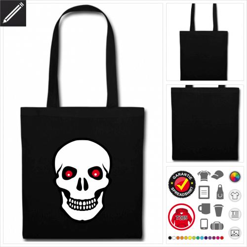 schwarze Pirat Stofftasche selbst gestalten. Online Druckerei