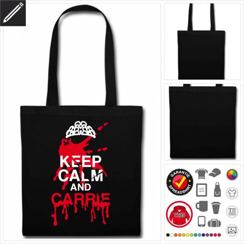 schwarze Halloween Stofftasche online Druckerei, höhe Qualität