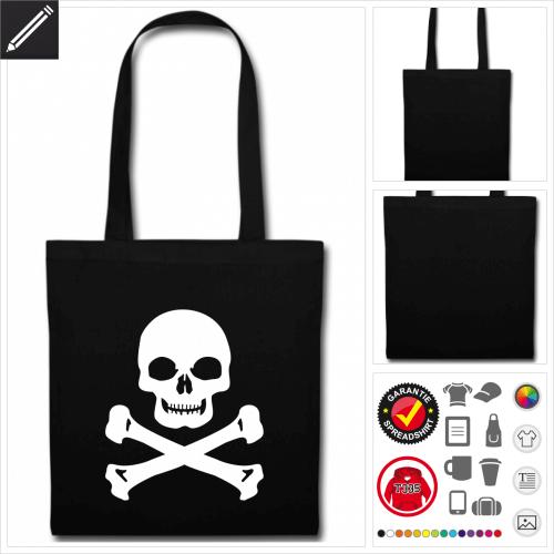 schwarze Schädel Stofftasche personalisieren