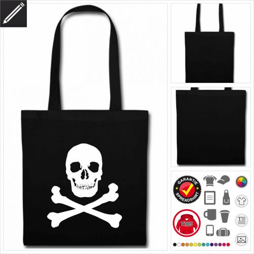 schwarze Totenkopf Stofftasche online Druckerei, höhe Qualität
