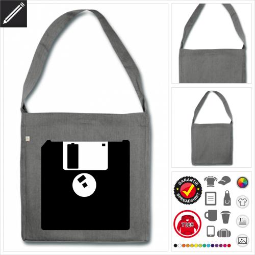 Floppy Disk Schulltertasche online zu gestalten