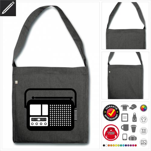Shopper Radiogerät Tasche selbst gestalten. Online Druckerei