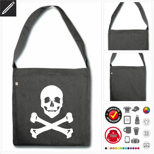 Shopper Piraten Tasche selbst gestalten. Online Druckerei
