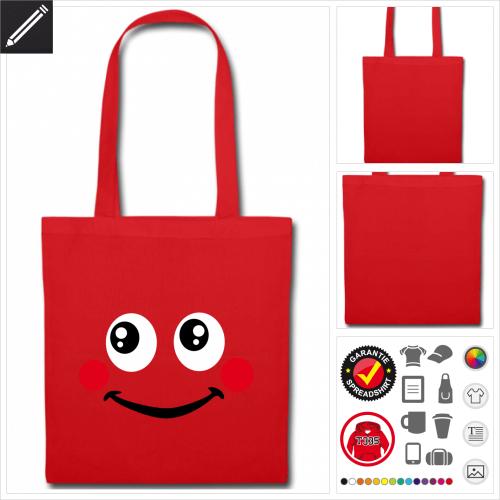 Smiley Tasche selbst gestalten. Druck ab 1 Stuck