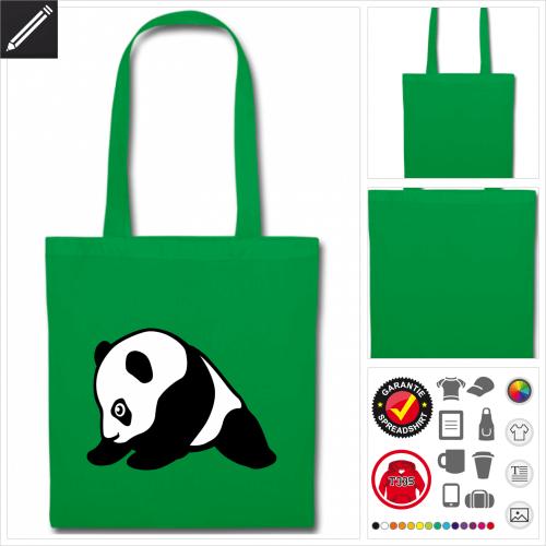 grüner Panda Stoffbeutel selbst gestalten