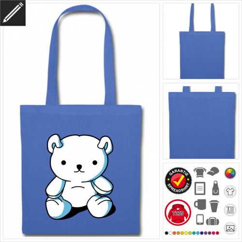 Kawaii Teddybär Stoffbeutel selbst gestalten. Online Druckerei