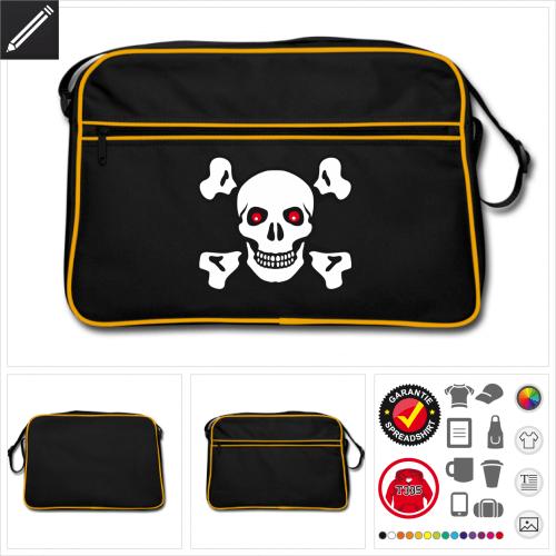 Retro Totenkopf Tasche personalisieren